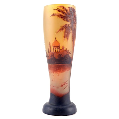 DeVez Cameo Glass Vase with Orientalist Landscape, Early 20th Century