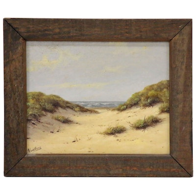 A.H. Nordberg Seascape Dunes Oil Painting, Mid-20th Century