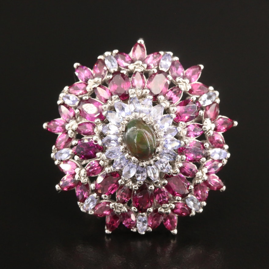Sterling Opal, Garnet and Tanzanite Cluster Ring