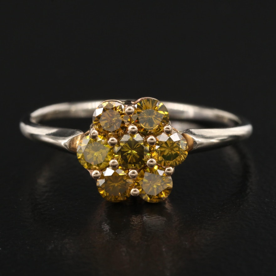 14K 1.05 CTW Diamond Cluster Ring with 10K Top