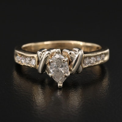 14K Diamond Ring with Channel Shoulders