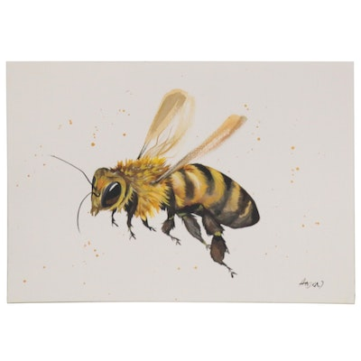 """Anne """"Angor"""" Gorywine Watercolor Painting of a Bee, 2020"""