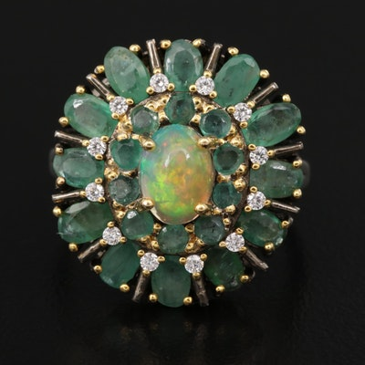 Sterling Opal, Emerald and Cubic Zirconia Ring