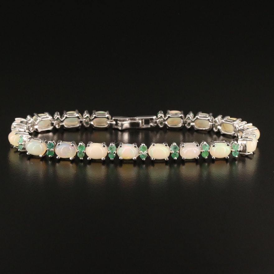 Sterling Silver Opal and Emerald Link Bracelet