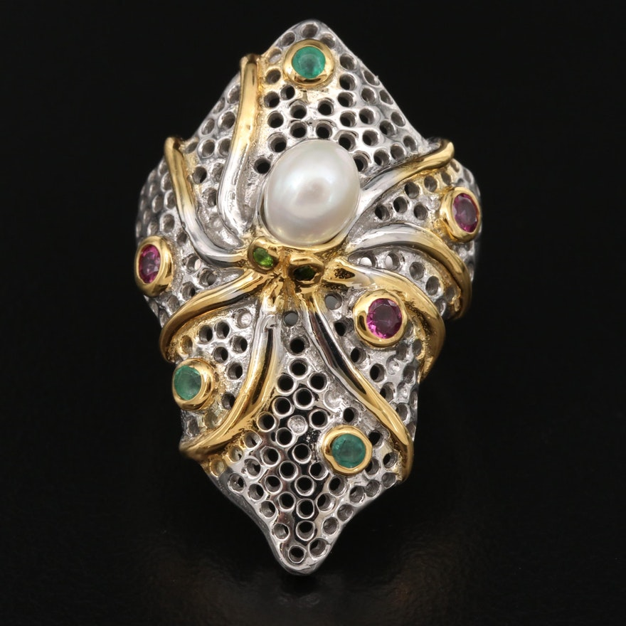 Sterling Pearl, Garnet and Emerald Octopus Ring