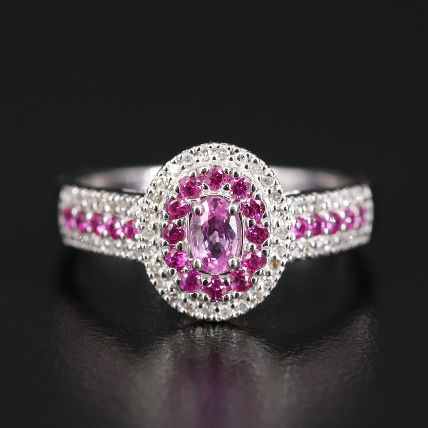 14K Sapphire, Ruby and Diamond Double Halo Ring