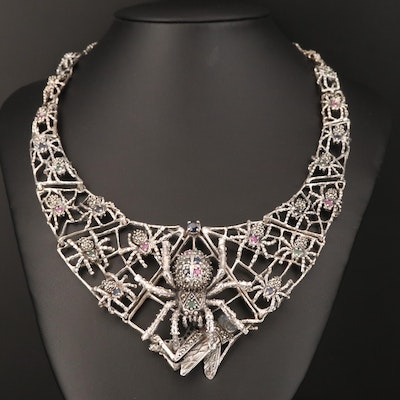 Sterling Ruby, Emerald and Sapphire Spider Web Bib Necklace
