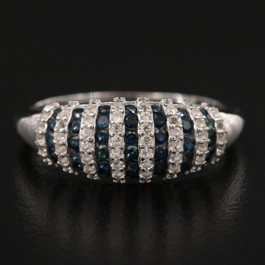 Sterling Sapphire Multi-Row Band