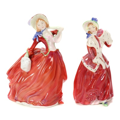 "Royal Doulton ""Christmas Morn"" and ""Autumn Breezes"" Porcelain Figurines"