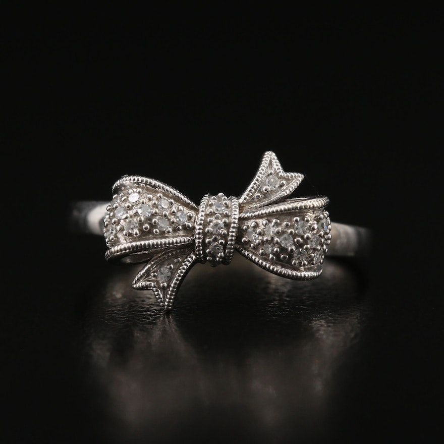 10K Diamond Bow Ring