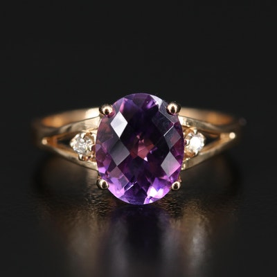 18K Amethyst and Diamond Split Shank Ring