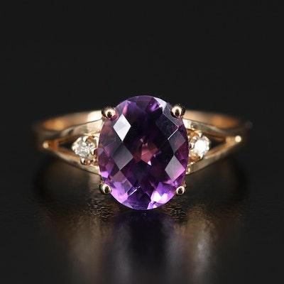 18K Amethyst and Diamond Split Shank Ring