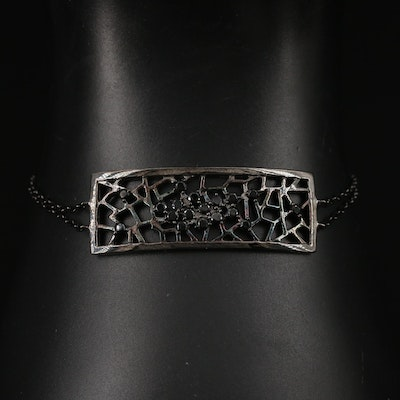 Sterling Openwork Panel Bracelet with Cubic Zirconia Accents