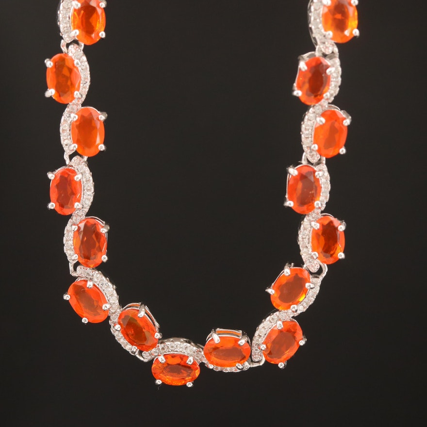 Sterling Fire Opal and Topaz Necklace