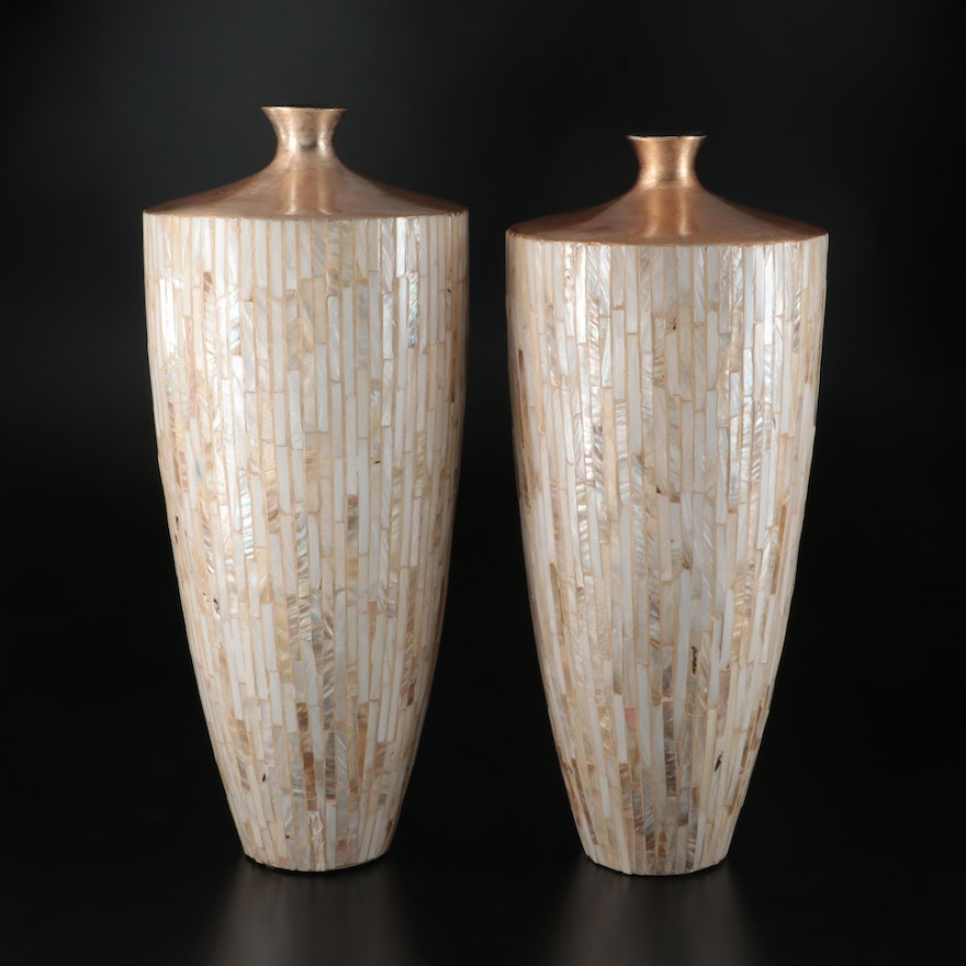Pair of Gold Tone and Mother-of-Pearl Ceramic Floor Vases