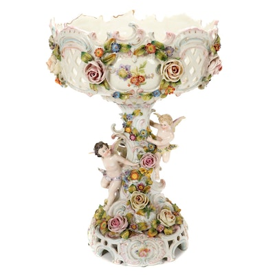 Dresden Style Porcelain Centerpiece Compote, 20th Century