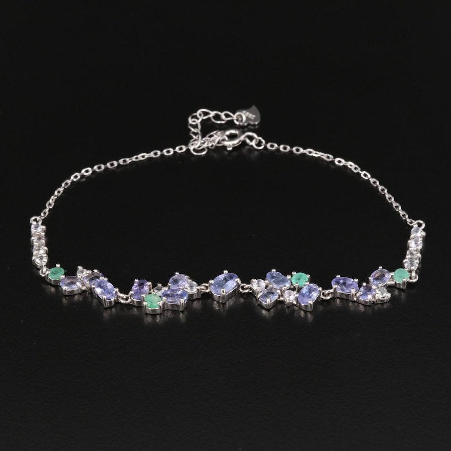 Sterling Silver Tanzanite, Beryl and Goshenite Bracelet