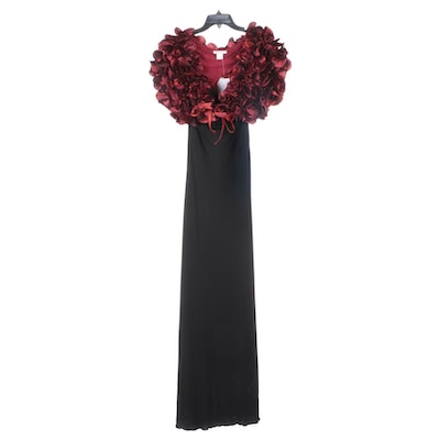 Alberto Makali Black Sleeveless Evening Dress with Red Rosette Shrug