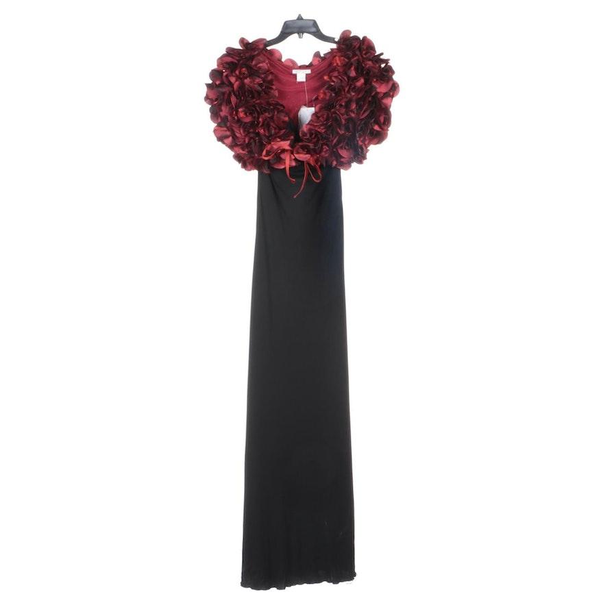 Alberto Makali Black Sleeveless Evening Dress with Red Rosette Shrug