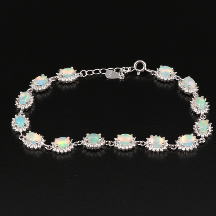 Sterling Opal and Cubic Zirconia Bracelet