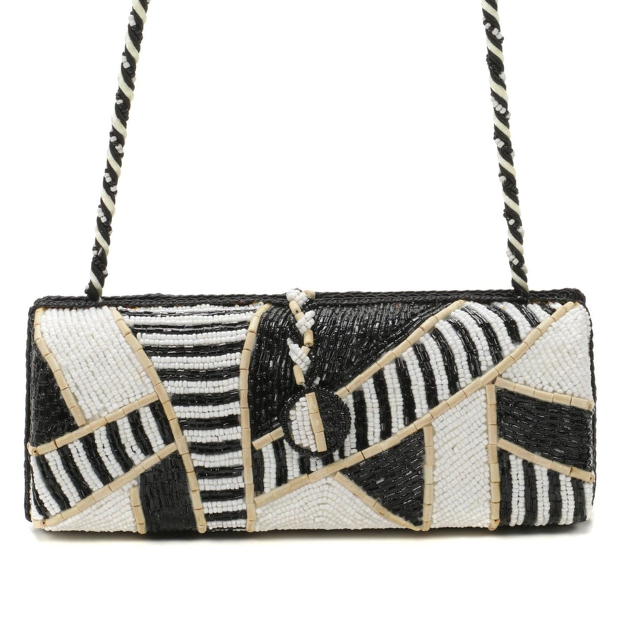 Motif by Mary Frances Beaded Box Clutch Crossbody Bag