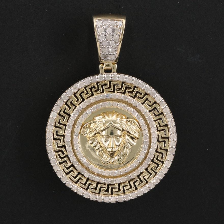 10K 1.00 CTW Diamond Repousse Pendant with Greek Key Trim