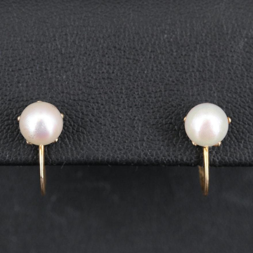 Vintage 10K Pearl Screw Back Earrings