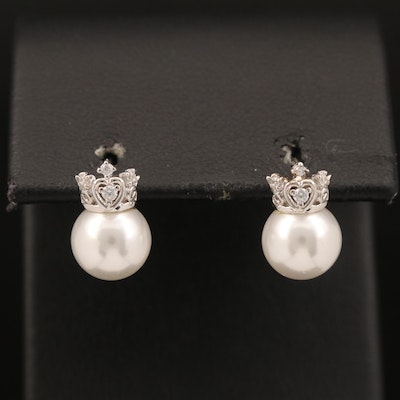 Sterling Faux Pearl and Cubic Zirconia Crown Earrings