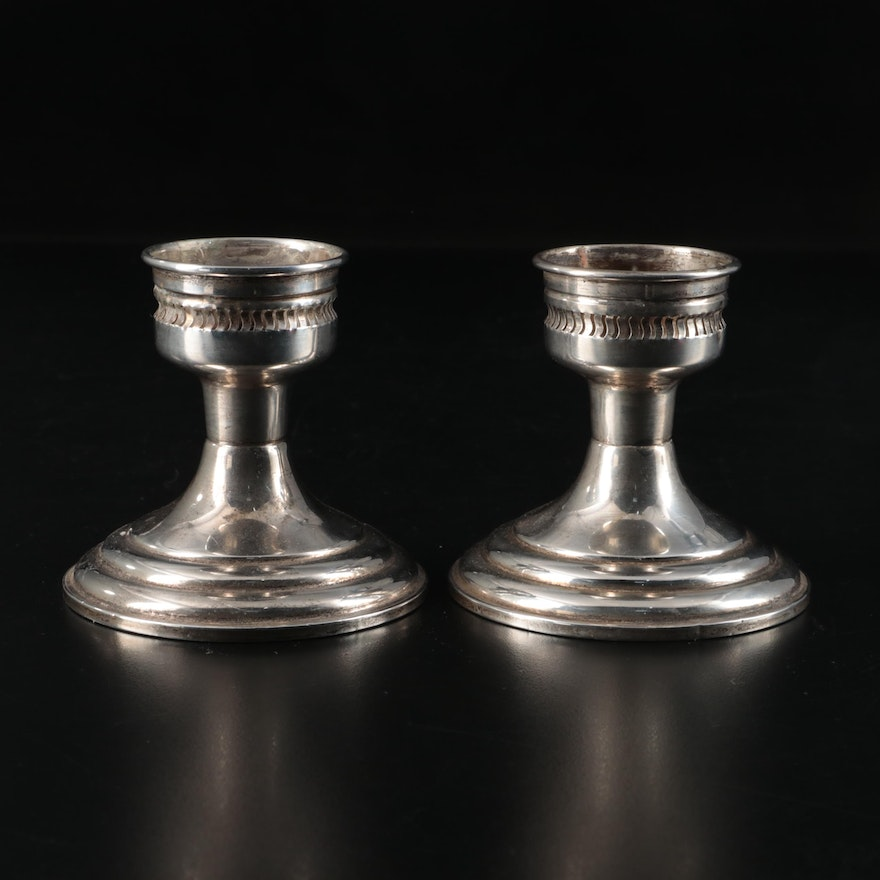 Preisner Weighted Sterling Silver Candle Holders, Mid-20th Century