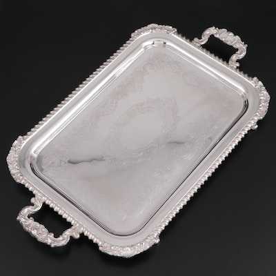 Crescent Silverware Mfg. Co. Silver Plate Footed Serving Tray