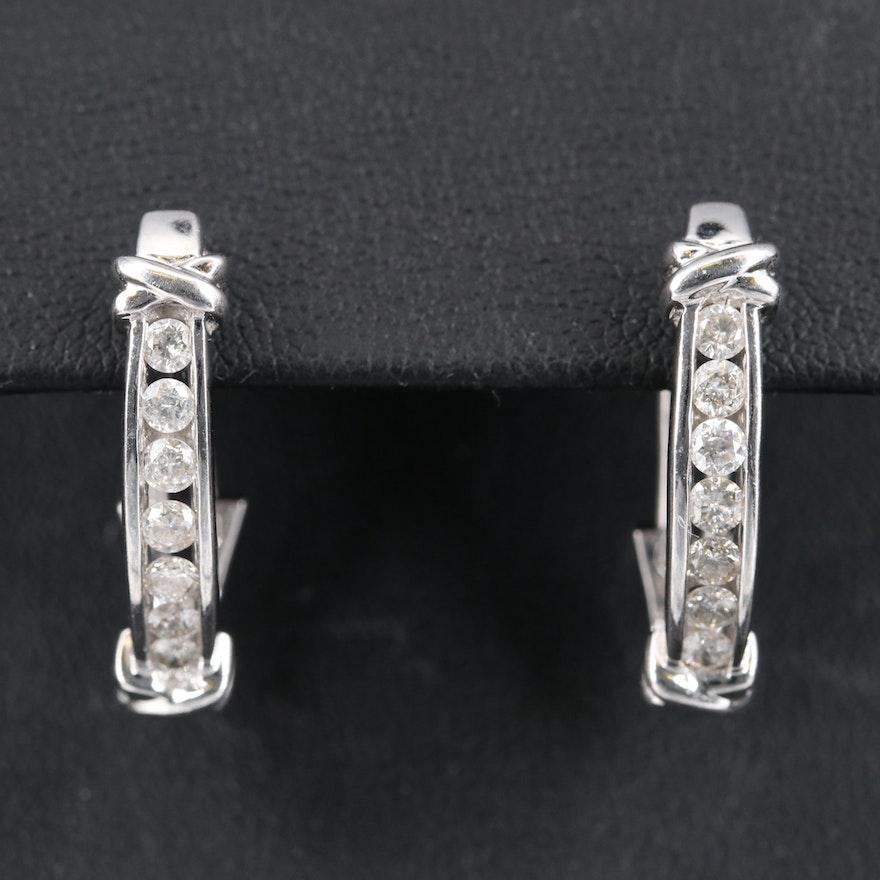 10K Diamond X Channel Hoop Earrings