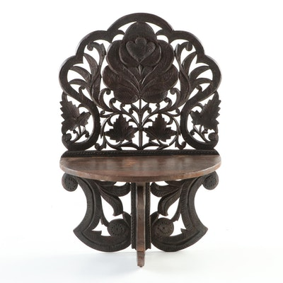 Victorian Carved Walnut Folding Wall Bracket, Early 20th Century