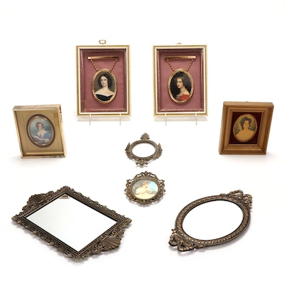 Victorian Style Wall Mirrors and Framed Offset Lithograph Portraits