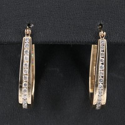 14K Diamond Tapered Channel Hoop Earrings