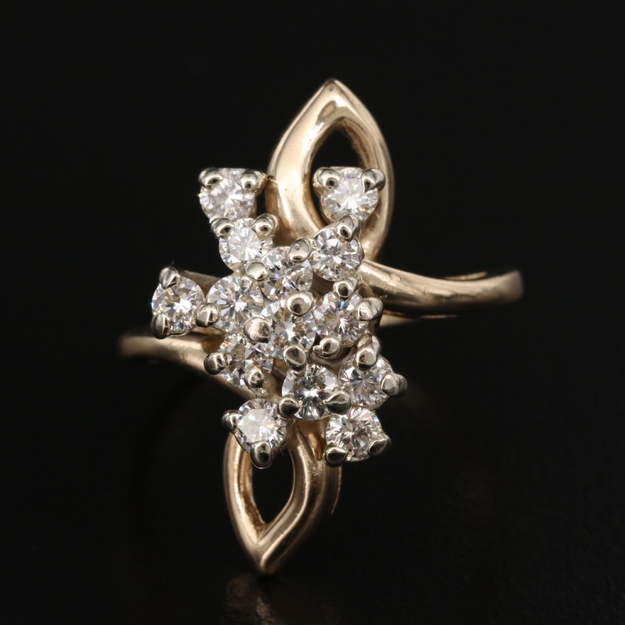 14K 1.00 CTW Diamond Cluster Bypass Ring