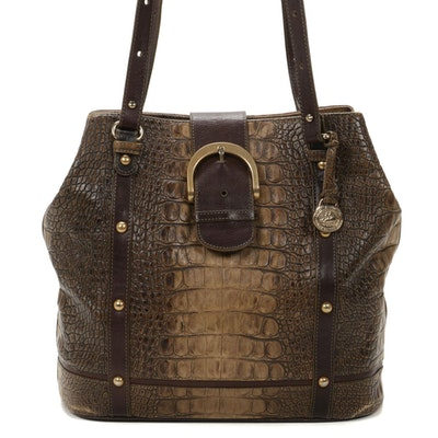 Brahmin Jacana Collection Croc-Embossed Italian Leather Shoulder Bag