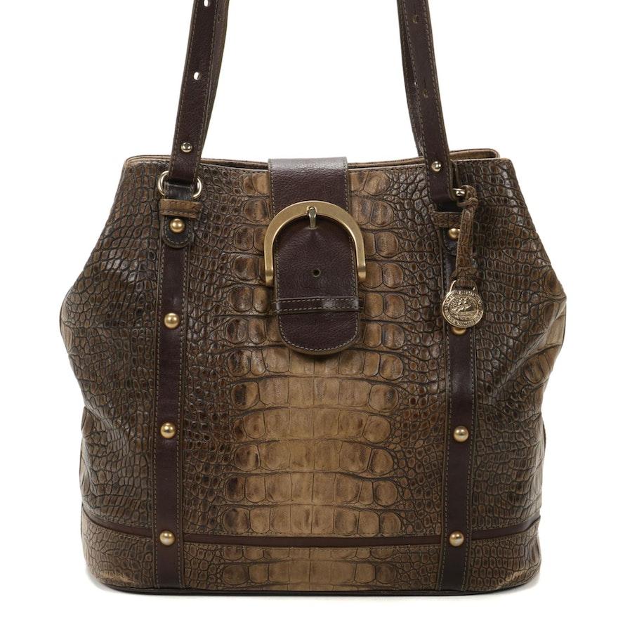 Brahmin Jacana Collection Croc-Embossed Italian Leather Shoulder Bag