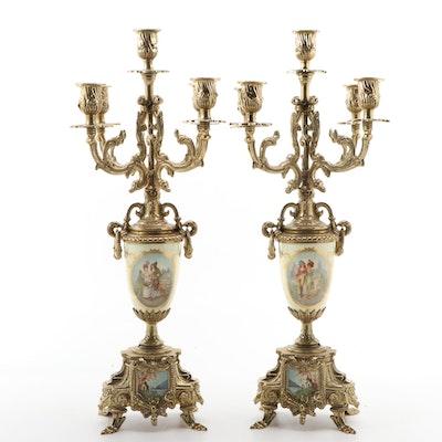 Porcelain Ormolu Mounted Five Arm Candelabras, Mid-20th Century