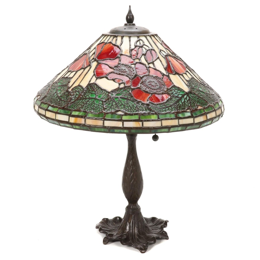 Slag Glass Poppies and Leaves Table Lamp with Bronzed Body, Mid-20th Century