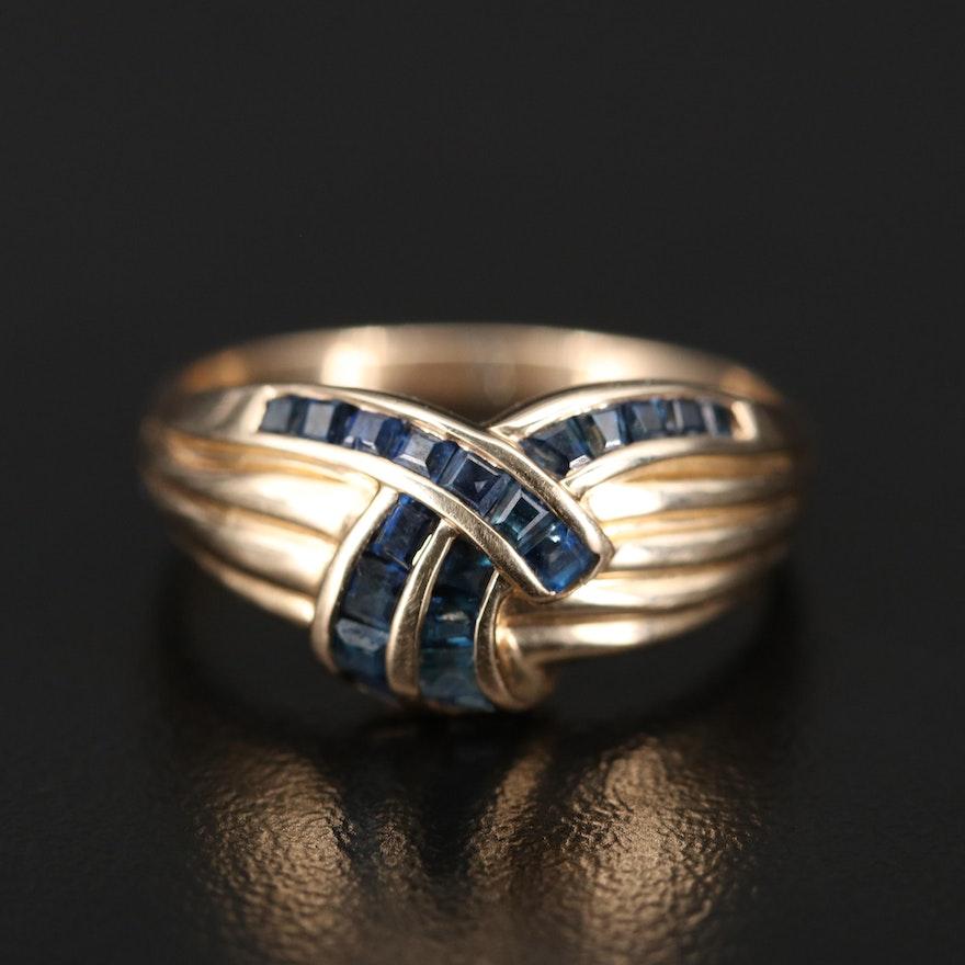 14K Sapphire Dimensional Ring