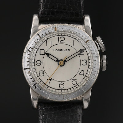 "1943 Longines ""Weems Second-Setting"" Military Stem Wind Wristwatch"