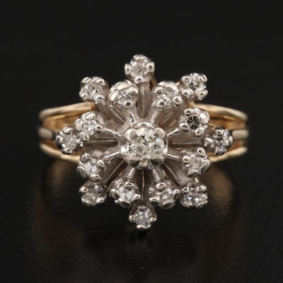 14K Tiered Diamond Cluster Ring
