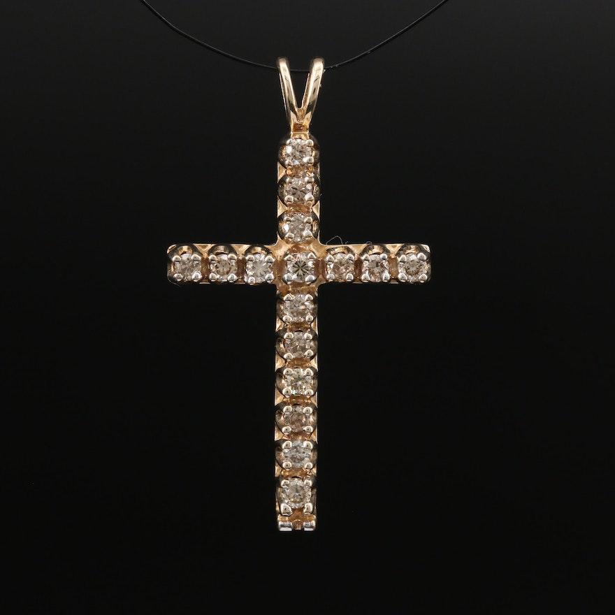 10K Diamond Cross Pendant