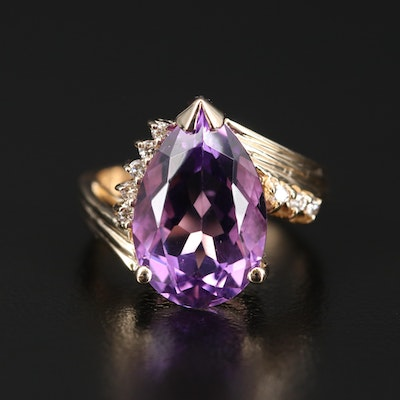 14K Amethyst and Diamond Bypass Ring