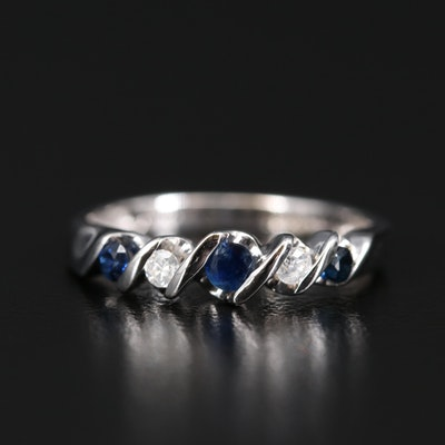 10K Tension Set Sapphire and Diamond Ring