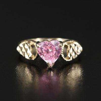 10K Pink Cubic Zirconia Heart Ring