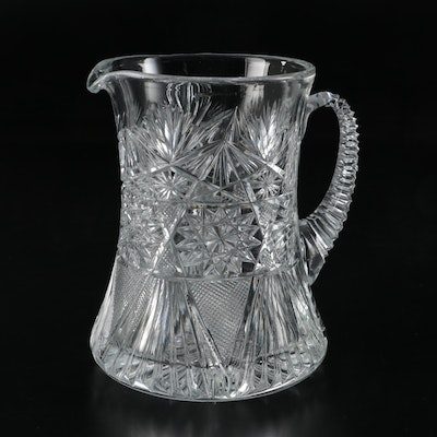 Yasemin American Brilliant Cut Style Glass Pitcher, Late 20th Century