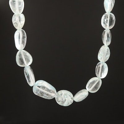 Aquamarine Beaded Necklace with 14K Clasp