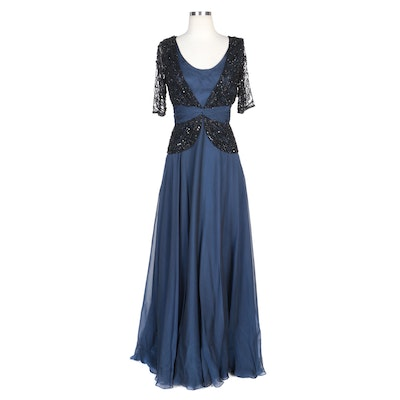Alberto Makali Navy Silk Blend Gown with Beaded Bodice Overlay and Wrap
