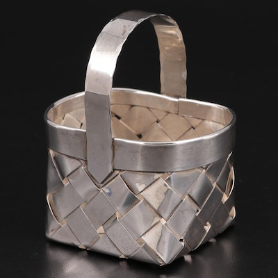Cartier Handmade Sterling Silver Miniature Woven Basket
